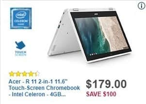 """Best Buy Black Friday: Acer R 11 11.6"""" 2-in-1 Touch-Screen Chromebook: Intel Celeron, 4GB, 16GB Flash Memory for $179.99"""