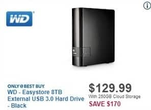 Best Buy Black Friday: WD Easystore 8TB External USB 3.0 Hard Drive (Black) for $129.99