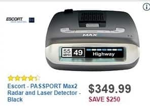 Best Buy Black Friday: Escort Passport Max2 Radar and Laser Detector (Black) for $349.99