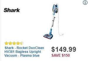 Best Buy Black Friday: Shark Rocket DuoClean HV381 Bagless Upright Vacuum (Phasma Blue) for $149.99