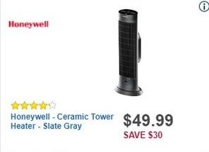 Best Buy Black Friday: Honeywell Ceramic Tower Heater (Slate Gray) for $49.99