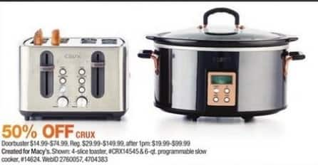 Macy's Black Friday: Crux 6-qt. Programmable Slow Cooker - 50% Off