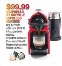 Macy's Black Friday: Nespresso by Breville Espresso Machine for $99.99