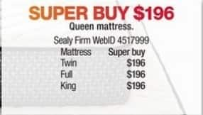 Macy's Black Friday: Sealy Firm Mattress (Twin/Full/Queen/King) for $196.00