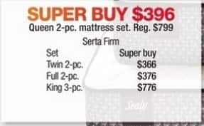 Macy's Black Friday: Serta Firm 2-pc. Mattress Set (Twin/Full/Queen) for $366.00 - $396.00