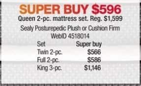Macy's Black Friday: Sealy Posturepedic Plush or Cushion Firm 3-pc. Mattress Set (King) for $1,146.00