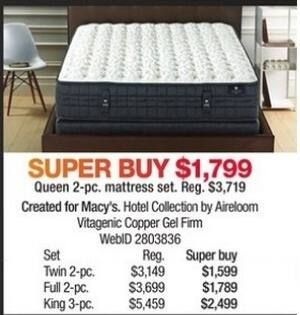 Macy's Black Friday: Hotel Collection by Aireloom Vitagenic Copper Gel Firm 2-pc. Mattress Set (Twin/Full/Queen) for $1,599.00 - $1,799.00