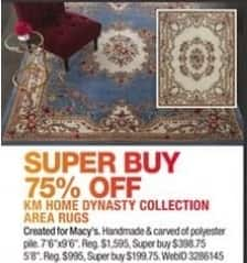 Macy's Black Friday: KM Home Dynasty Collection Area Rugs - 75% Off