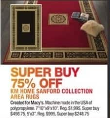 Macy's Black Friday: KM Home Sanford Collection Area Rugs - 75% Off
