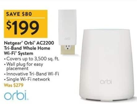 Walmart Black Friday: Netgear Orbi AC2200 Tri-Band Whole Home Wi-Fi System for $199.00