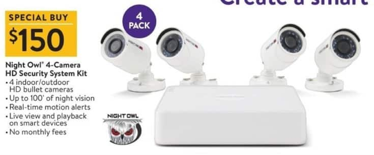 Walmart Black Friday: Night Owl 4-Camera HD Security System Kit for $150.00