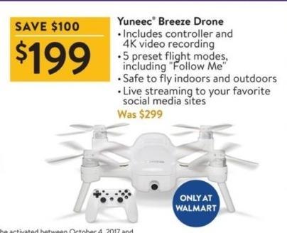 Walmart Black Friday: Yuneec Breeze Drone for $199.00