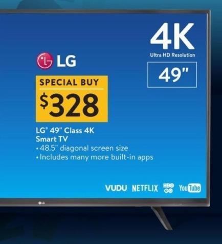 "Walmart Black Friday: LG 49"" Class 4K Smart TV for $328.00"