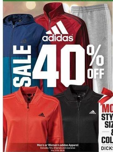 Dicks Sporting Goods Black Friday: Adidas Men's or Women's Apparel - 40% Off