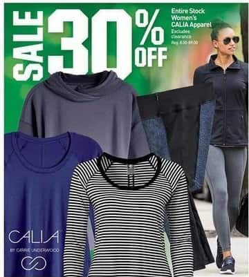 Dicks Sporting Goods Black Friday: Entire Stock Calia Women's Apparel - 30% Off