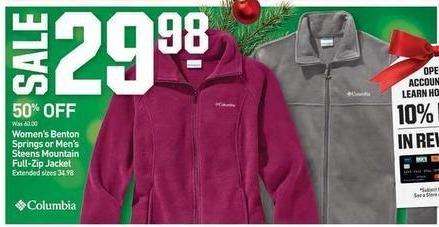Dicks Sporting Goods Black Friday: Women's Benton Springs or Men's Steens Mountain Full-Zip Jacket for $29.98