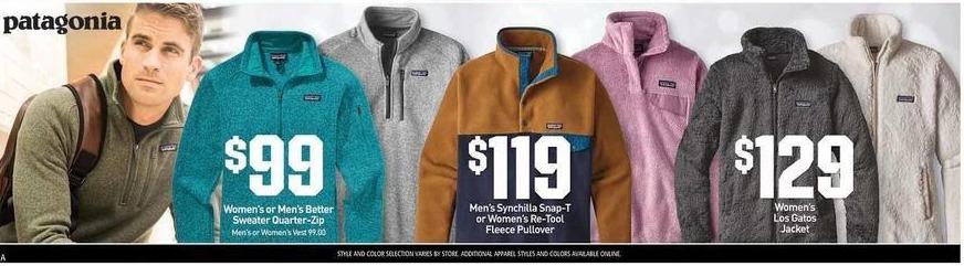 Dicks Sporting Goods Black Friday: Patagonia Women's or Men's Better Sweater Quarter-Zip for $99.00