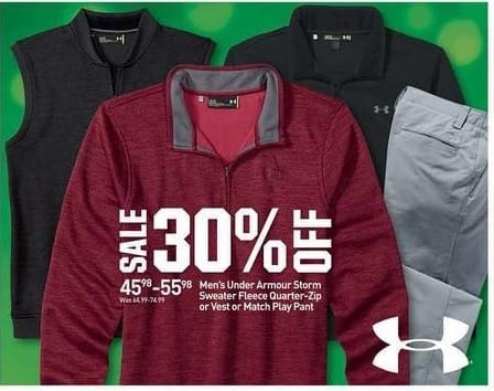 Dicks Sporting Goods Black Friday: Under Armour Men's Storm Sweater Fleece Quarter-Zip or Vest or Math Play Pant for $45.98 - $55.98