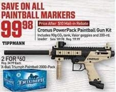 Dicks Sporting Goods Black Friday: Cronus PowerPack Paintball Gun Kit for $99.98