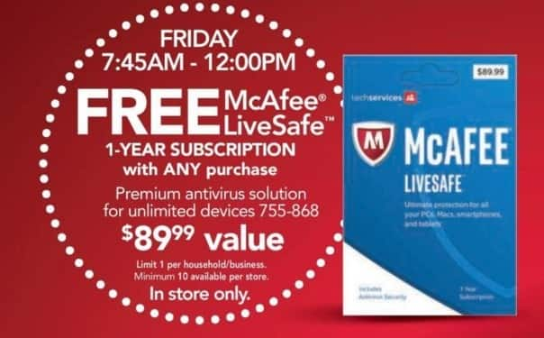 Office Depot and OfficeMax Black Friday: McAfee 1-Year Subscription - Free w/Any Purchase