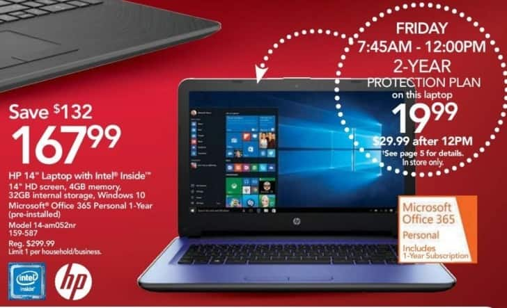 "Office Depot and OfficeMax Black Friday: HP 14-am052nr 14"" Laptop: Intel Inside, 4GB, 32GB Internal Storage, Win 10 for $167.99"
