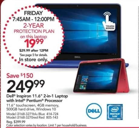 "Office Depot and OfficeMax Black Friday: Dell Inspiron 11.6"" 2-in-1 Laptop: Intel Pentium, 4GB, 500GB HD, Win 10 for $249.99"
