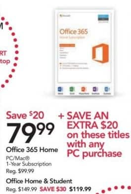 Office Depot and OfficeMax Black Friday: Office 365 Home 1-Year Subscription for $79.99