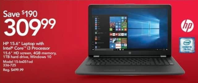 "Office Depot and OfficeMax Black Friday: HP 15-bs051od 15.6"" Laptop: Intel Core i3, 4GB, 1TB HD, Win 10 for $309.99"