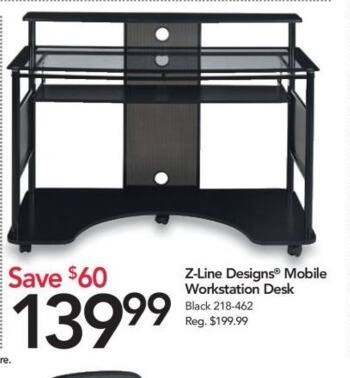 Office Depot and OfficeMax Black Friday: Z-Line Designs Mobile Workstation Desk for $139.99
