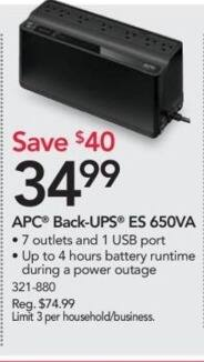 Office Depot and OfficeMax Black Friday: APC Back-UPS ES 650VA for $34.99