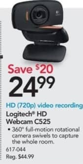 Office Depot and OfficeMax Black Friday: Logitech HD Webcam C525 for $24.99