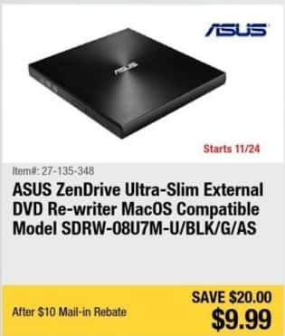 Newegg Black Friday: ASUS ZenDrive Ultra-Slim External DVD Re-writer (MacOS Compatible) for $9.99 after $10 rebate