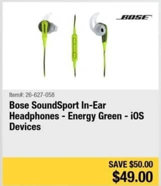 Newegg Black Friday: Bose SoundSport In-Ear Headphones (Energy Green) for $49.00