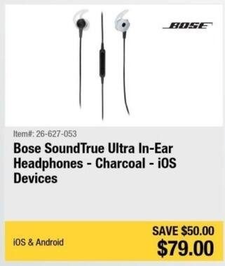 Newegg Black Friday: Bose SoundTrue Ultra In-Ear Headphones (Charcoal) for $79.00