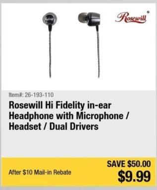 Newegg Black Friday: Rosewill Hi fidelity In-Ear Headphone with Microphone and Headset for $9.99 after $10 rebate