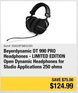 Newegg Black Friday: Beyerdynamic DT 990 Pro Headphones (Limited Edition) for $124.99