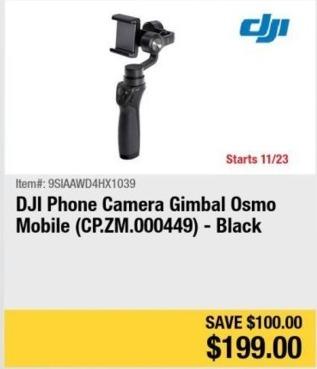 Newegg Black Friday: DJI Phone Camera Gimbal Osmo Mobile (Black) for $199.00