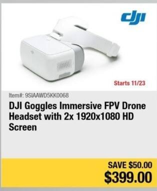 Newegg Black Friday: DJI Goggles Immersive FPV Drone Headset for $399.00