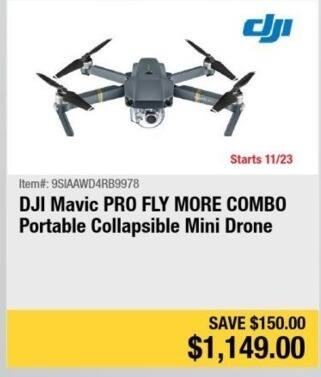 Newegg Black Friday: DJI Mavic PRO Fly More Combo Portable Collapsible Mini Drone for $1,149.00