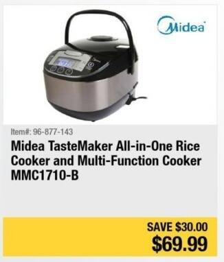 Newegg Black Friday: Midea TasteMaker All-in-One Rice Cooker and Multi-Function Cooker for $69.99