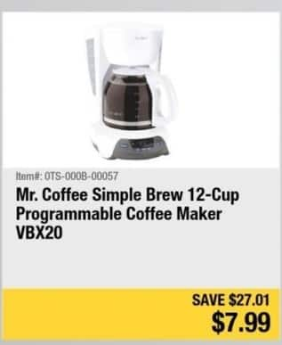 Newegg Black Friday: Mr. Coffee Simple Brew 12-cup Programmable Coffee Maker for $7.99