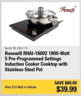 Newegg Black Friday: Rosewill RHAI-16002 1800-Watt 5 Pre-Programmed Settings Induction Cooker Cooktop with Stainless Steel Pot for $39.99 after $10 rebate