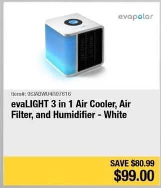 Newegg Black Friday: evaLight 3 in 1 Air Cooler, Air Filter and Humidifier (White) for $99.00