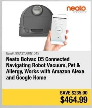 Newegg Black Friday: Neato Botvac D5 Connected Navigating Robot Vacuum (Pet & Allergy) for $464.99