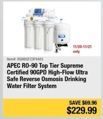 Newegg Black Friday: APEC RO-90 Top Tier Supreme Certified 90GPD High-Flow Ultra Safe Reverse Osmosis Drinking Water Filter System for $229.99