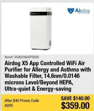 Newegg Black Friday: Airdog X5 App Controlled WiFi Air Purifier for Allergy and Asthma with Washable Filter for $359.00