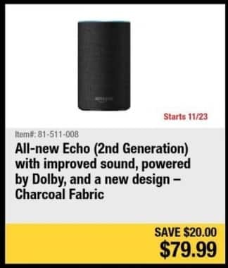 Newegg Black Friday: All-New Echo (2nd Gen) for $79.99