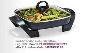 "Stage Stores Black Friday: Bella 12""x12"" Electric Skillet for $7.99 after $12.00 rebate"