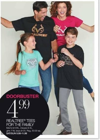 Stage Stores Black Friday: Realtree Tees for the Family for $4.99