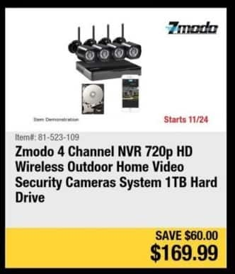 Newegg Black Friday: Zmodo 4 Channel NVR 720p HD Wireless Outdoor Home Security Cameras Systems 1TB Hard Drive for $169.99